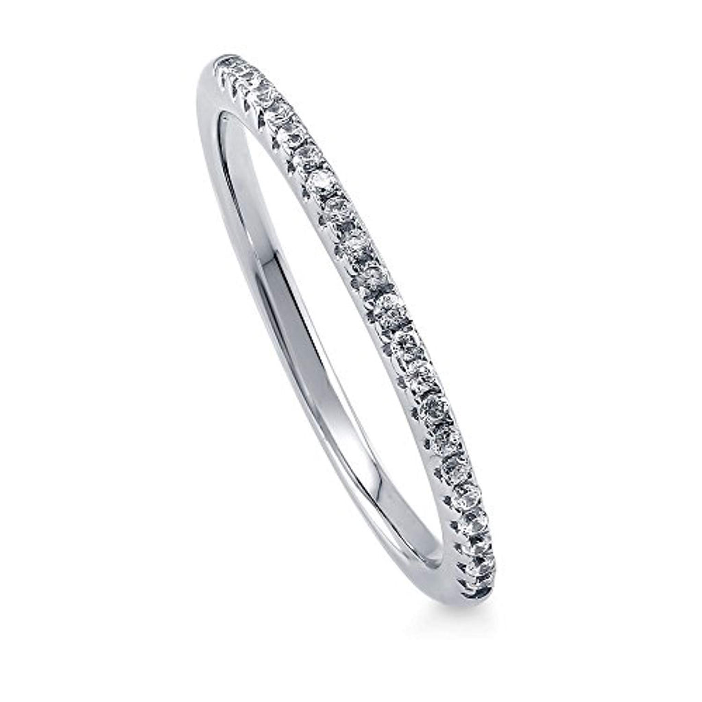Rhodium Plated Sterling Silver Wedding Half Eternity Band Ring Made with Swarovski Zirconia