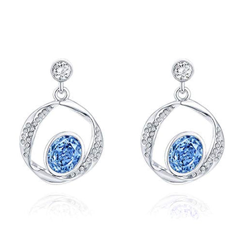 14K White Gold Plated Blue Heart of the Ocean Crystal Earrings