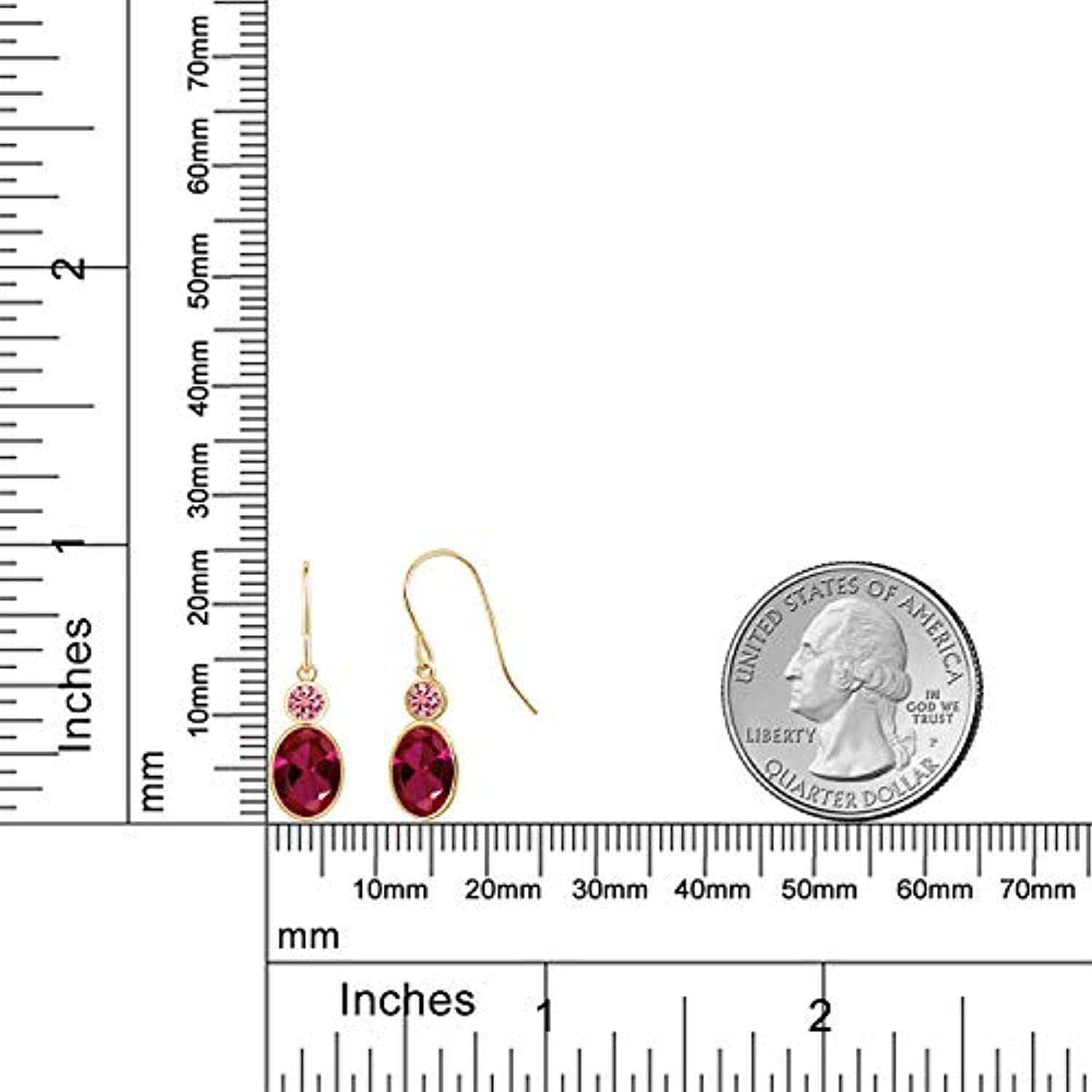 14K Gold Oval Red Created Ruby and Vivid Pink Created Moissanite  Dangle Drop Earrings