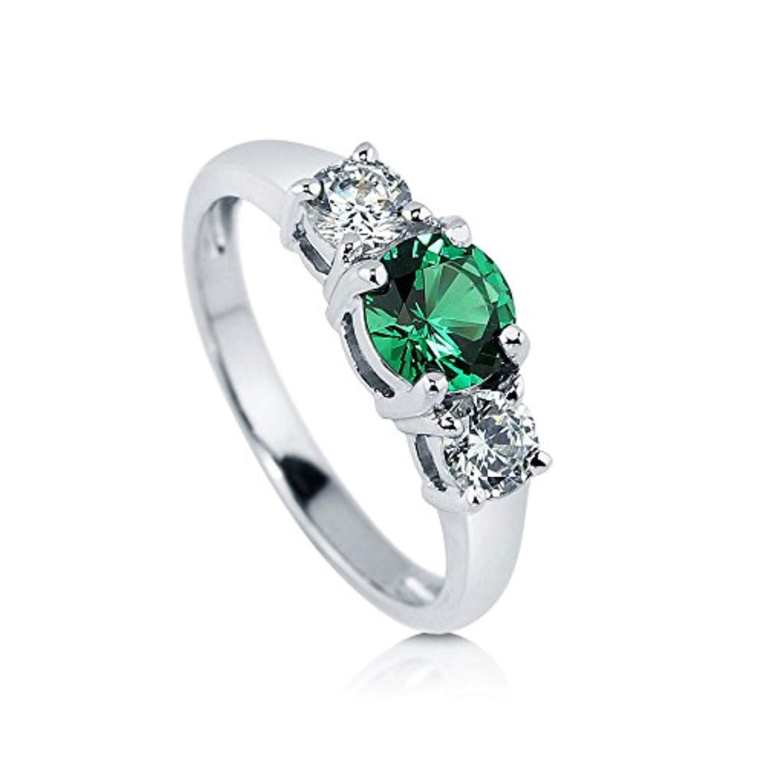 Rhodium Plated Sterling Silver Simulated Emerald Round Cubic Zirconia CZ 3-Stone Anniversary Promise Engagement Ring