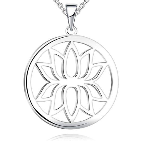 925 Sterling Silver Lotus Pendant Necklace with White Gold Plated