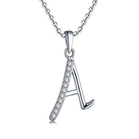925 Sterling Silver Initial Pendant Necklace Cubic Zirconia for Women