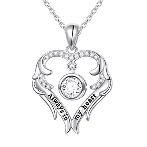 Always in My Heart Fairy Angel Wing Memorial Necklace