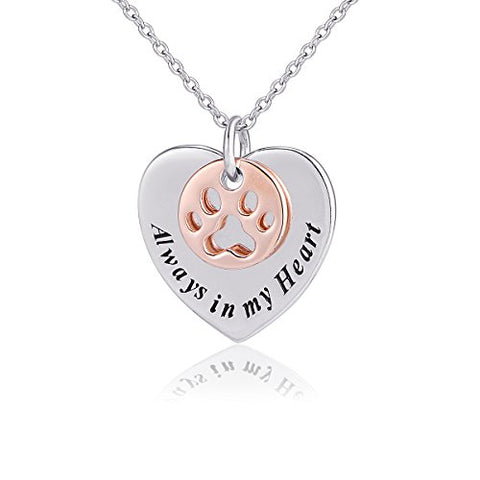 925 Sterling Silver Heart Disc With Always in My Heart Paw Pendant Necklace with 18inch Cable Chain