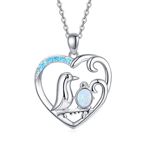 ilver Ocean Wave & Penguin Necklace Pendant