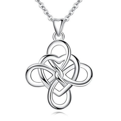 925 Sterling Silver Good Luck Celtic Knot Irish Vintage 925 Women Heart Necklace Pendant