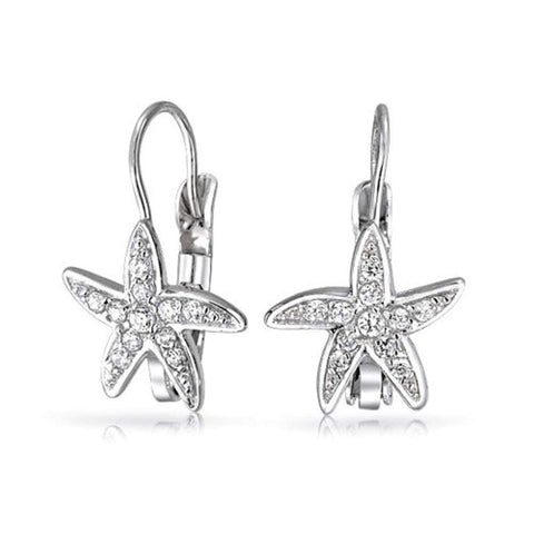 Nautical Ocean Beach Cubic Zirconia Pave CZ Leverback Starfish Drop Earrings For Women 925 Sterling Silver