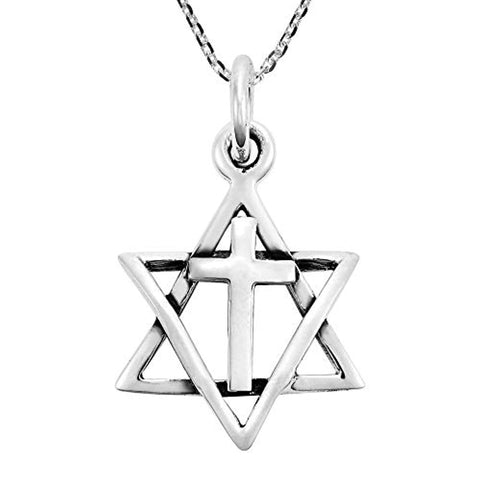 Silver Star of David & Cross Necklace