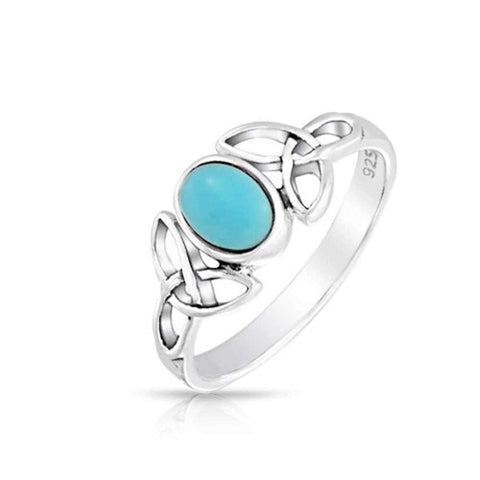 Celtic Trinity Knot Triquetra Ring For Teen Band Blue Stabilized Turquoise 925 Sterling Silver Ring December Birthstone