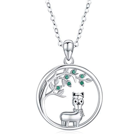 Silver Tree of Life Llama Necklace Pendant