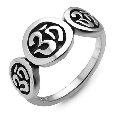 925 Sterling Silver Vintage Yoga Aum Om Ohm Sanskrit India Symbol Band Ring Size 6, 7, 8
