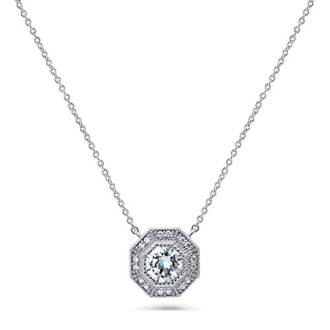 Rhodium Plated Sterling Silver Halo Milgrain Art Deco Anniversary Wedding Pendant Necklace Made with Swarovski Zirconia Octagon Sun Cut
