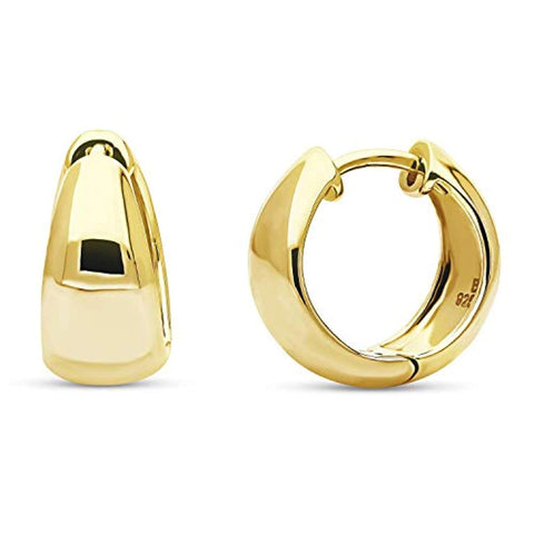 Yellow Gold Flashed Sterling Silver Dome Small Fashion Hoop Huggie Earrings