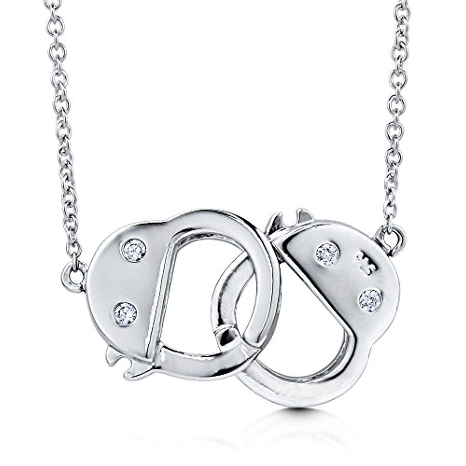 Rhodium Plated Sterling Silver CZ Handcuffs Pendant Necklace