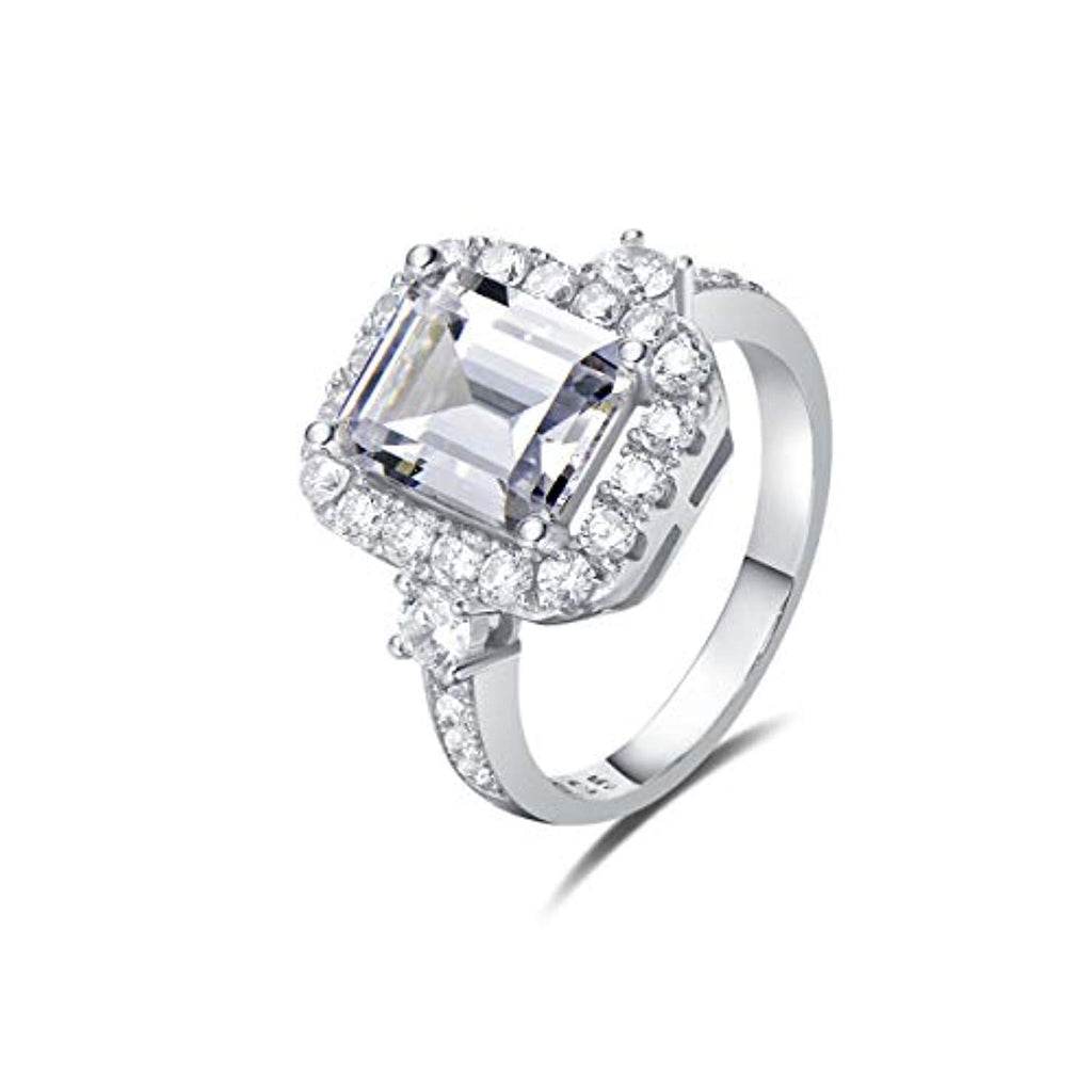 Wedding Engagement Promise Ring Rhodium Plated 925 Sterling Silver Emerald Cut Halo Pave Cubic Zirconia CZ Jewelry for Wife Lover Girlfriend