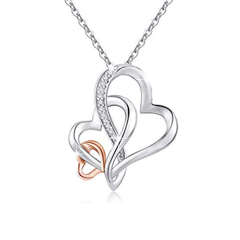 Silver Rose Gold Tone Infinity Heart Necklace