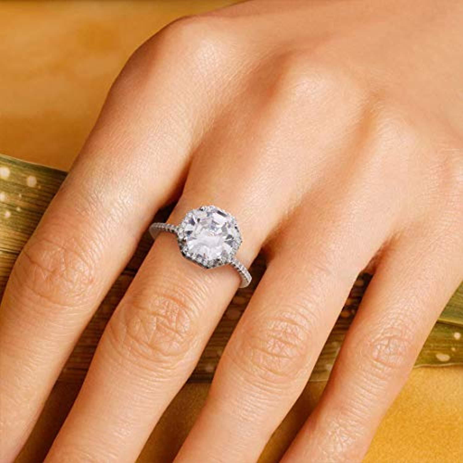 Wedding Engagement Promise Ring Rhodium Plated 925 Sterling Silver Square Halo Pave Cubic Zirconia CZ Jewelry for Wife Lover Girlfriend