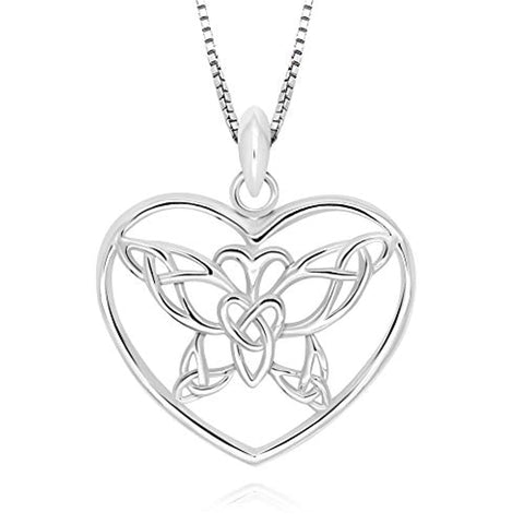 Celtic Butterfly Heart Pendant Necklace