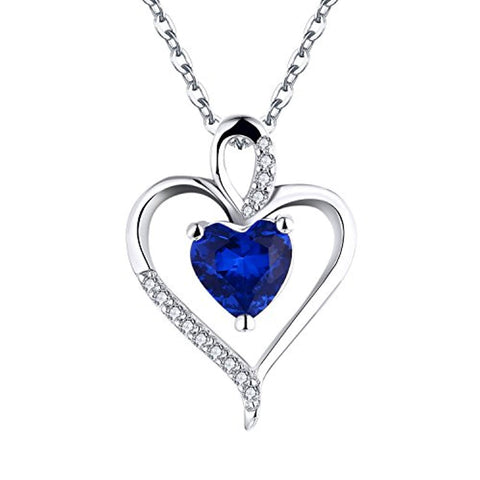 925 Sterling Silver Cubic Zirconia Heart Pendant Necklace with September Blue Sapphire Birthstone