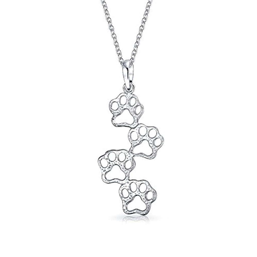 Minimalist Pet Dog Cat Puppy Kitten Four Paw Prints Pendant Necklace For Women For Teen 925 Sterling Silver