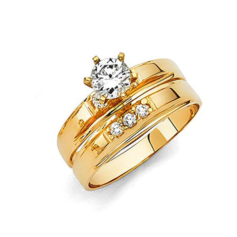 14k Yellow Gold Engagement Ring and Wedding Band Bridal Set For Ladies
