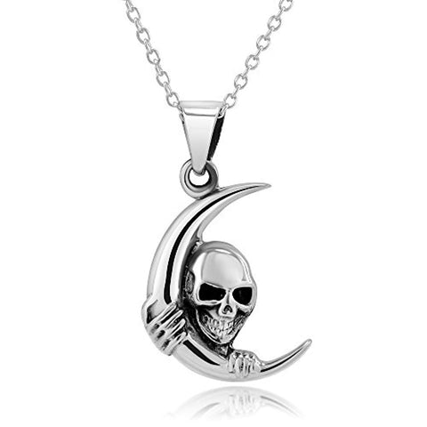 Moon Skull Pendant Necklace