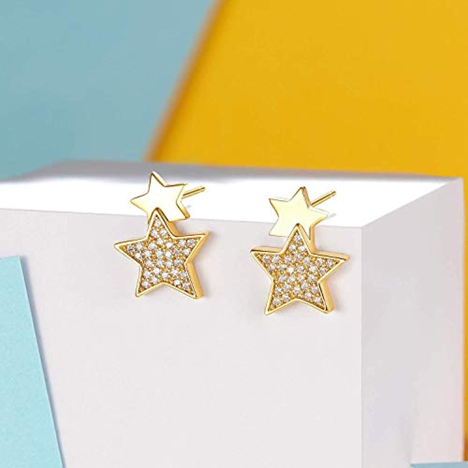 14K Yellow Gold Plated S925 Sterling Silver Cubic Zirconia CZ Stars Stud Earrings Trendy Jewelry