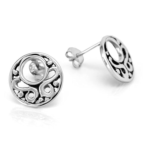 Open Filigree Circle Round 13 mm Post Stud Earrings