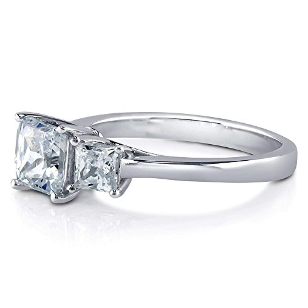 Rhodium Plated Sterling Silver 3-Stone Anniversary Promise Engagement Ring Made with Swarovski Zirconia Princess Cut
