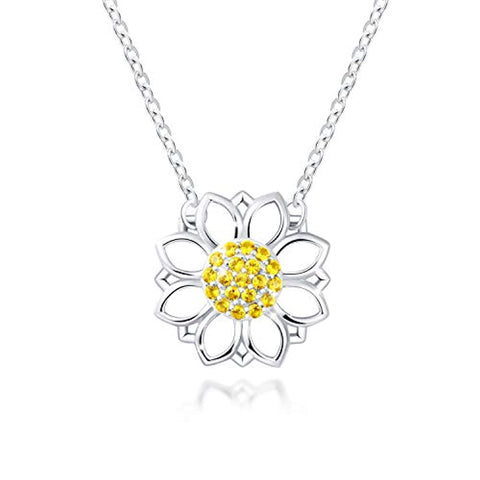 S925 Sterling Silver Sunflower Choker Necklace for Women Girls - You are My Sunshine