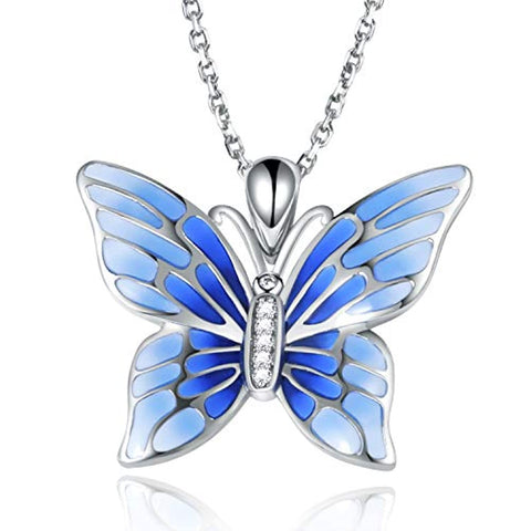 925 Sterling Silver Blue Butterfly Pendant Necklace  Epoxy Jewelry Gift for Women