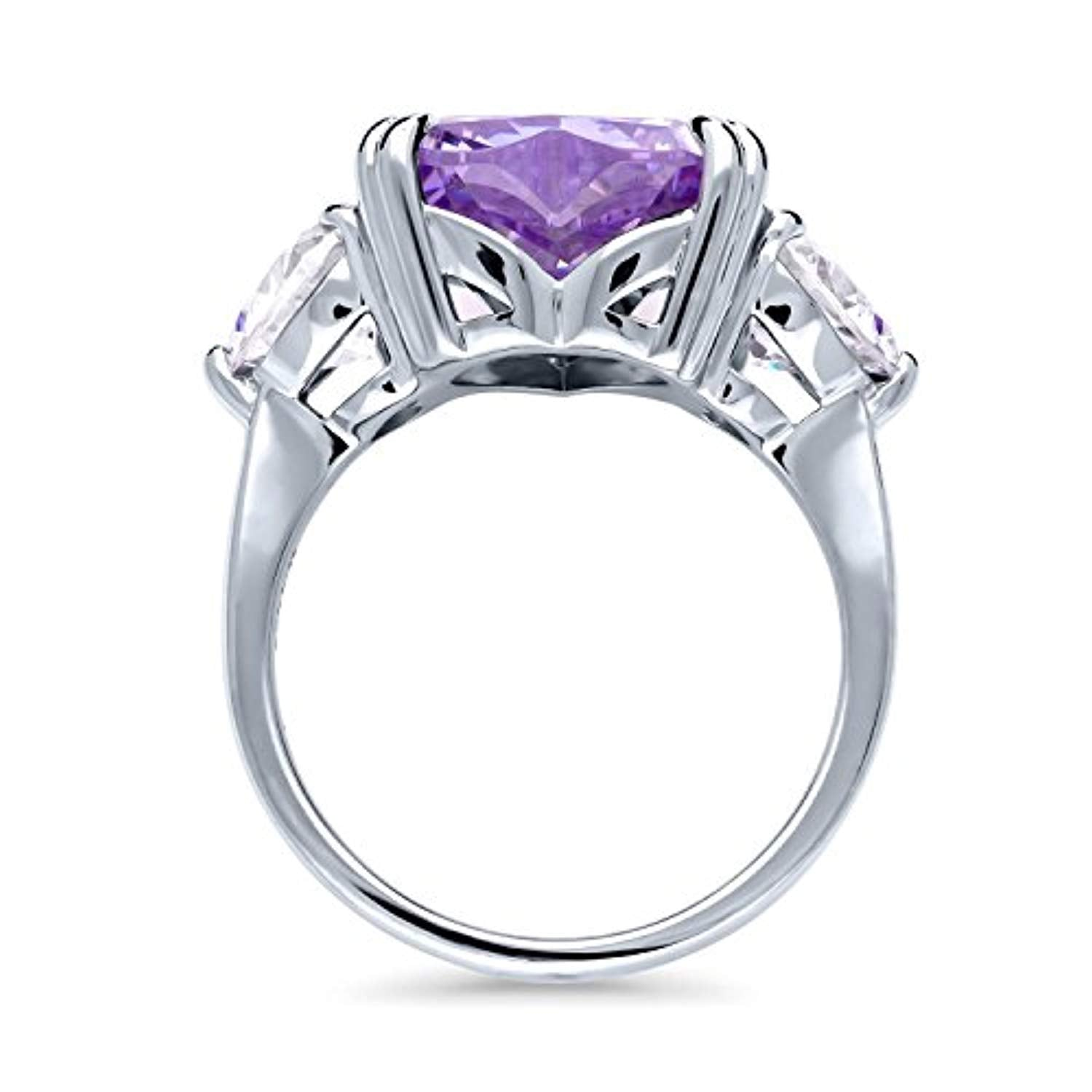 Rhodium Plated Sterling Silver Purple Heart Shaped Cubic Zirconia CZ Statement 3-Stone Cocktail Anniversary Fashion Right Hand Ring