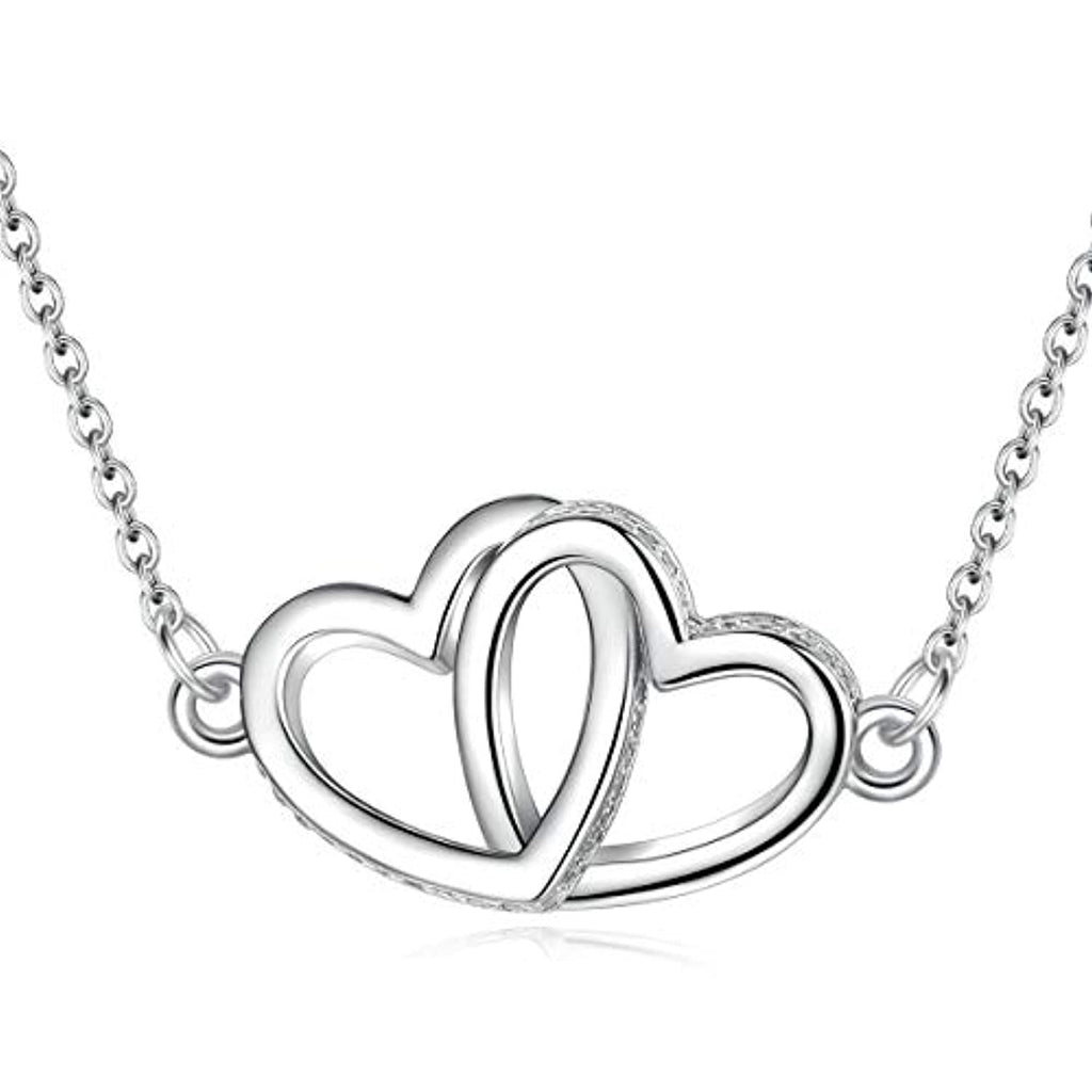 Silver Two Heart Shaped  Necklace Pendant