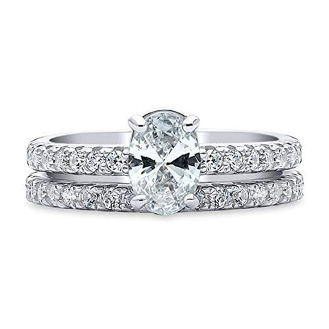 Rhodium Plated Sterling Silver Solitaire Engagement Wedding Ring Set Made with Swarovski Zirconia Oval Cut