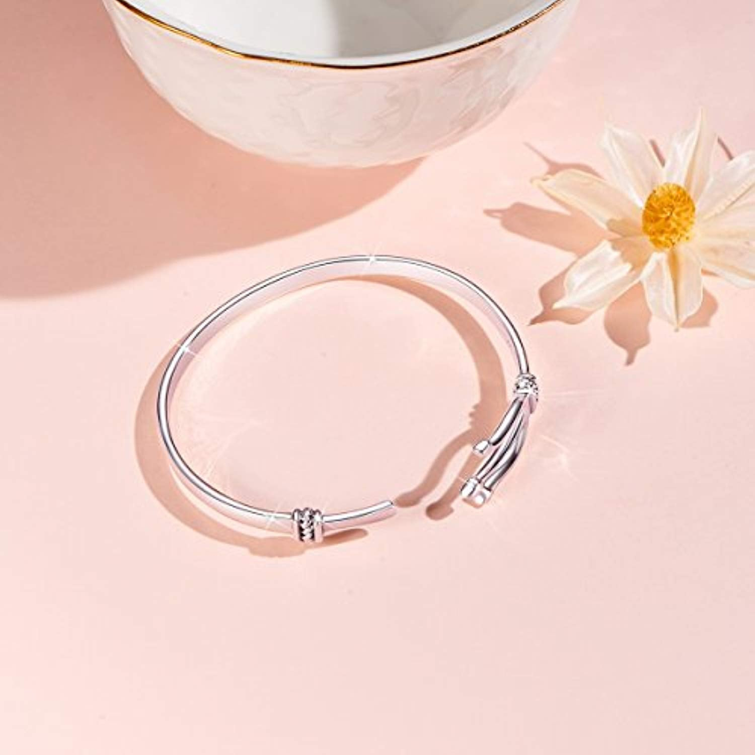Cool Bangle Bracelet 925 Sterling Silver Open Bangle with Fork Charm