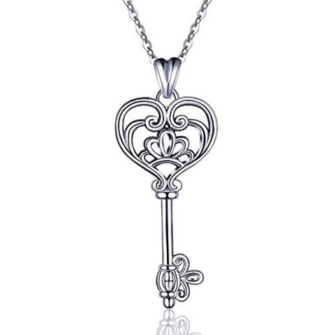 Silver  Key of Happiness Pendant Necklace