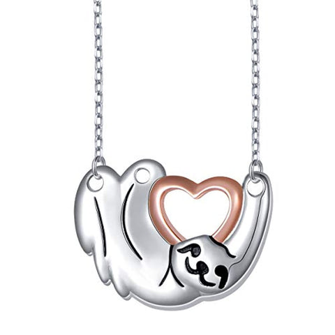 Cute Animal Sloth Heart Pendant Necklace