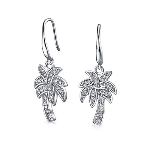 Nautical Pave CZ Cubic Zirconia Palm Tree Dangle Earrings For Women For Teen 925 Sterling Silver French Hook