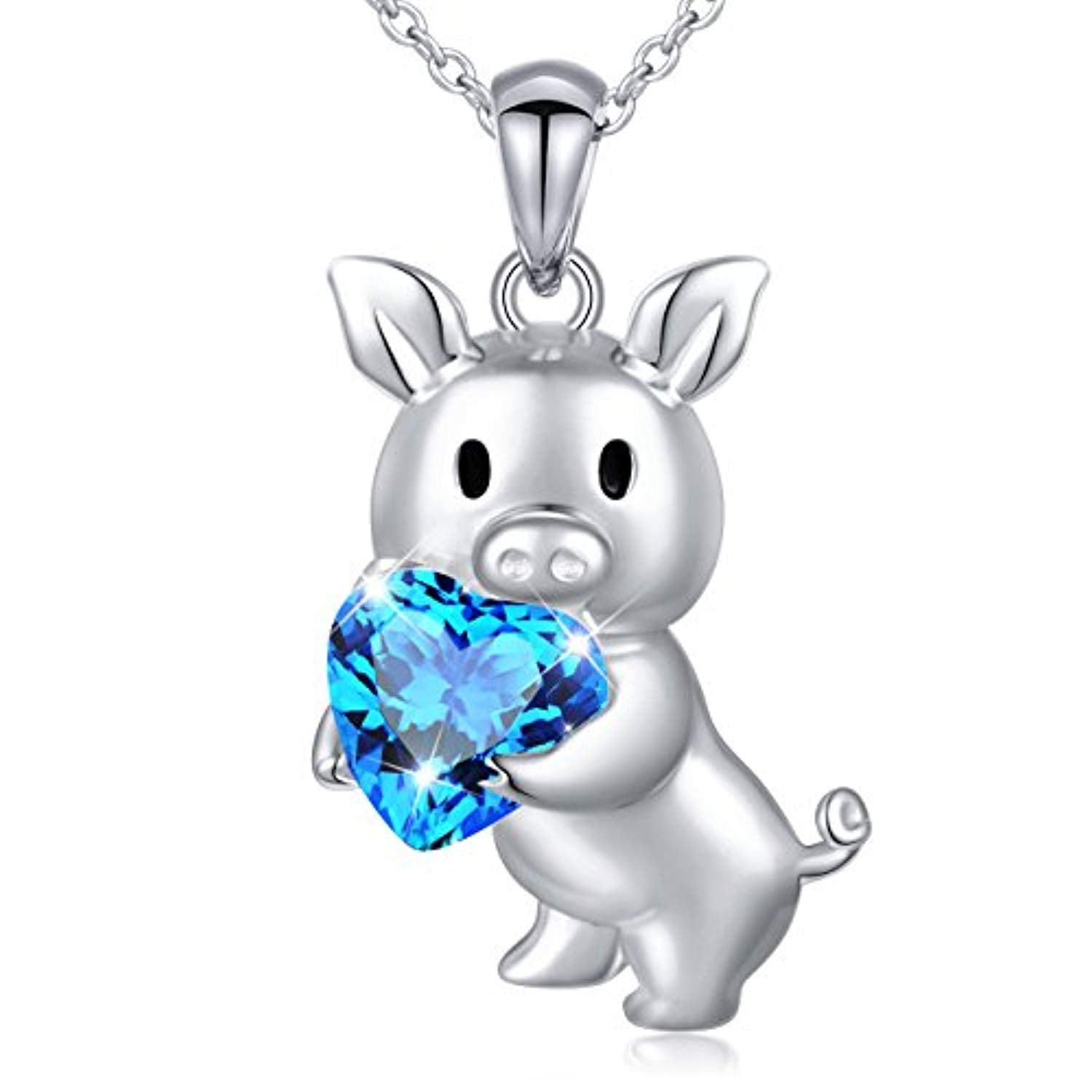 Lovely Pig 925 Sterling Silver Cute Animal Jewelry Cubic Zirconia Love Heart Pendant Necklace for Women Girls
