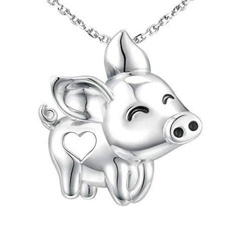 Silver Cute Pig Pendant Necklace