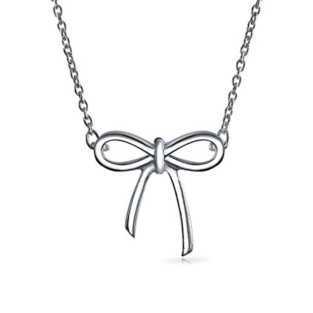 Minimalist Holiday Bow Ribbon Pendant Station Pendant Necklace For Women For Teen Girlfriend 925 Sterling Silver