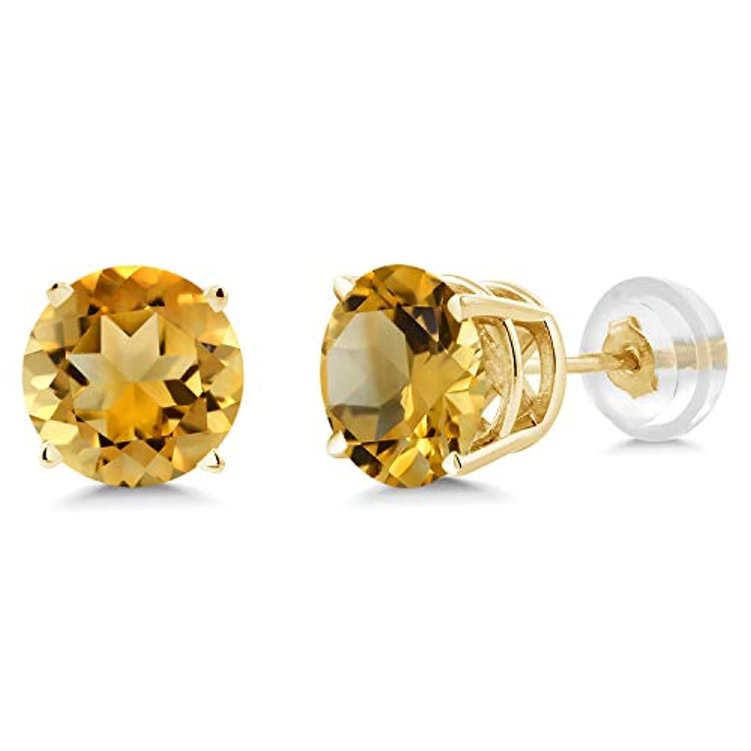 14K  Gold Yellow Citrine Stud Earrings