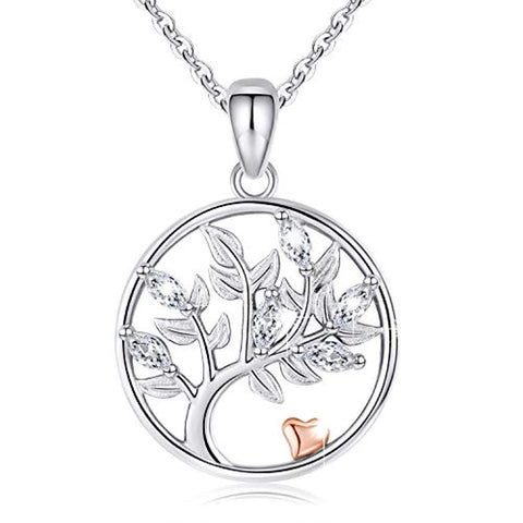 Women Family Tree of Life Necklace Pendant 925 Sterling Silver Two Tone Love Heart Necklace Jewelry Gifts for Her