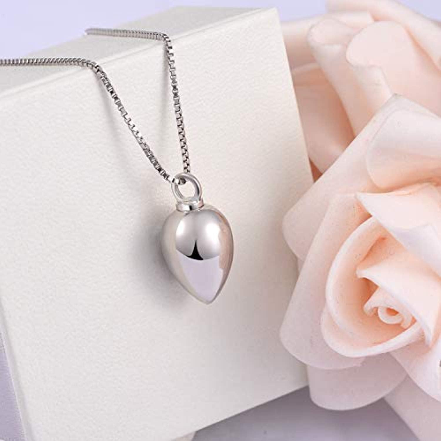 S925 Sterling Silver Keepsake Urn Necklace - Always in My Heart Memorial Teardrop Cremation Jewelry for Ashes