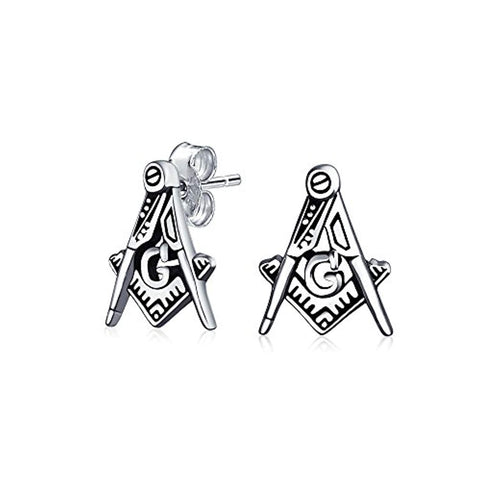Tiny Square And Compass Masonic Freemason Stud Earrings For Women For Men Oxidized 925 Sterling Silver