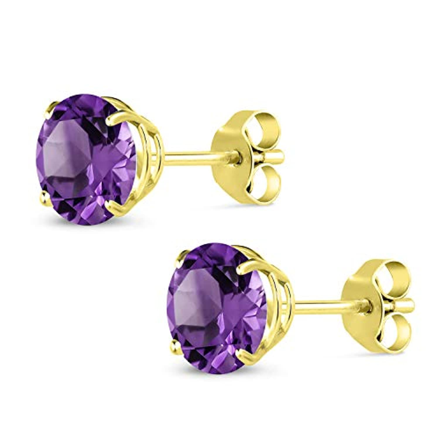 14K Gold Purple Amethyst  Stud Earrings For Women