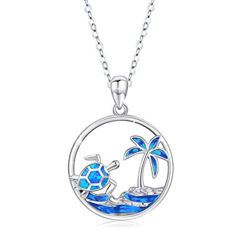 Silver Tropical Palm Tree/Ocean Wave and Cute Turtle Pendant Necklaces