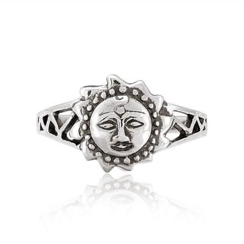 925 Sterling Silver Celtic Sun Face Vintage Style Ring - Nickel Free