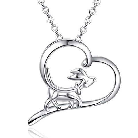 Silver Cute Dog Puppy Heart Shape Necklace