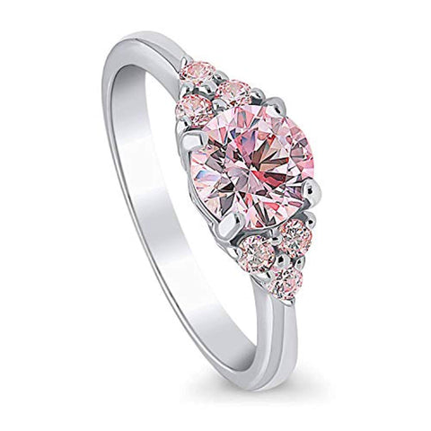 Rhodium Plated Sterling Silver Solitaire Promise Engagement Ring Made with Swarovski Zirconia Morganite Color Round